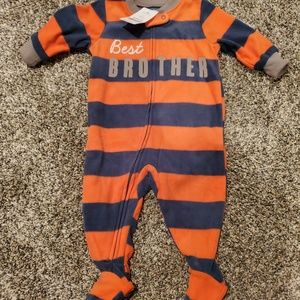 NWT Carter's Best Brother Striped Footie Pajamas